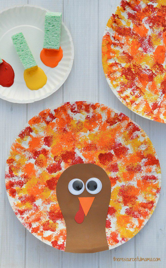 Sponge Painted Thanksgiving Turkey Craft Easy Thanksgiving Crafts Fun Fall Crafts Thanksgiving Crafts For Kids