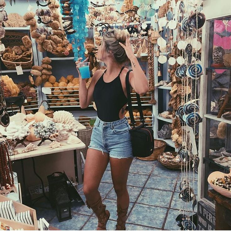 Pinterest: @barbphythian || summer outfits outfits | denim shorts and black cut out bodysuit