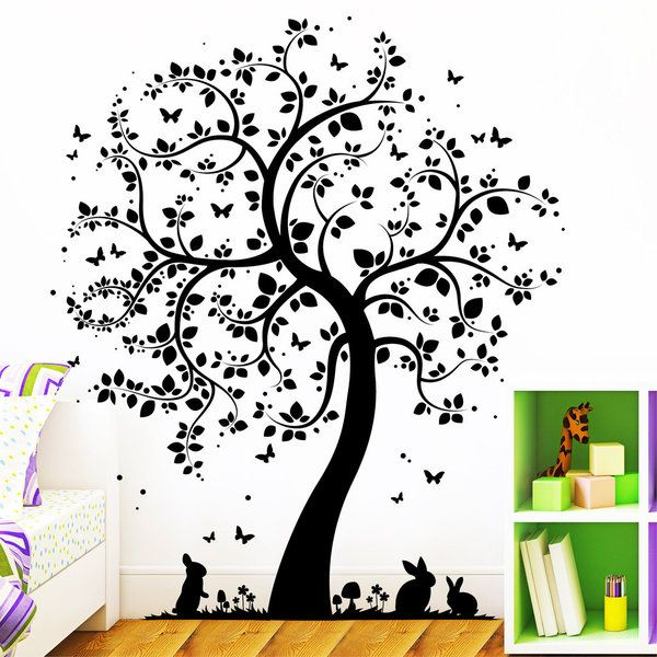 Fresh Wandtattoo Baum mit Hasen Wandaufkleber H schen