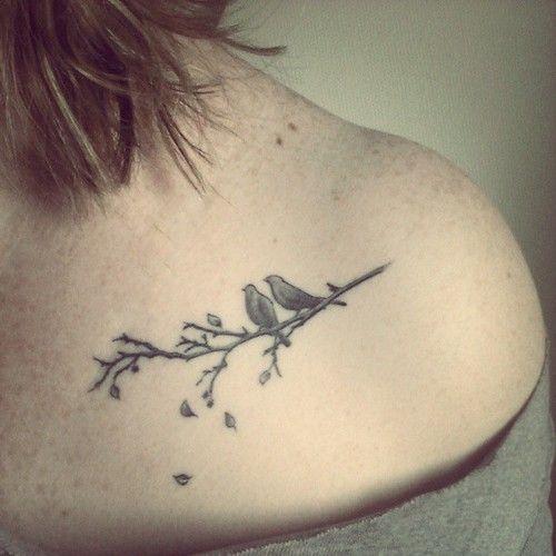 Birds on a branch tattoo by PIINK in Basel, Switzerland.