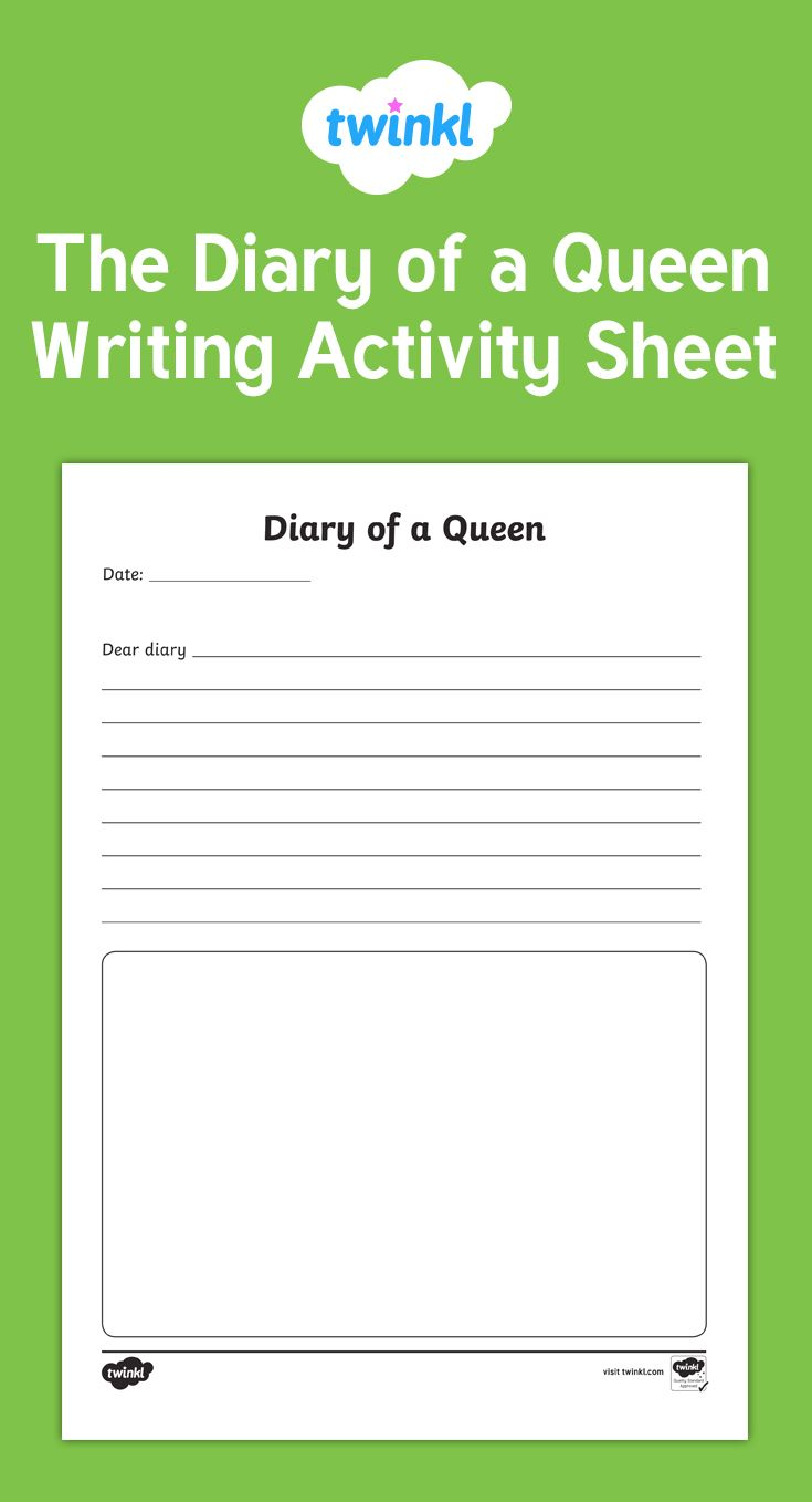 A fun writing activity where students can write from The Queen's perspective. They can complete just one diary entry or a week's worth of entries.
