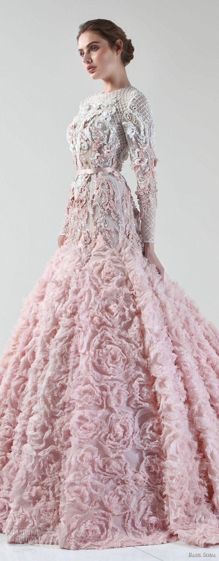 basil soda 2017 bridal long sleeves jewel neckline full embellishment pink princess a  line wedding dress chapel train (1) zv -- Basil Soda 2017 Wedding Dresses