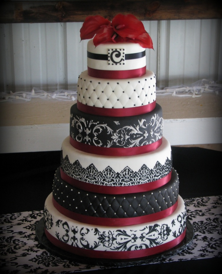 Indian weddings inspirations black and white wedding cake repinned by indianweddingsmag - Burgundy and white wedding decorations ...