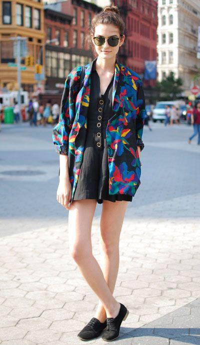 black dress rainbow blazer.
