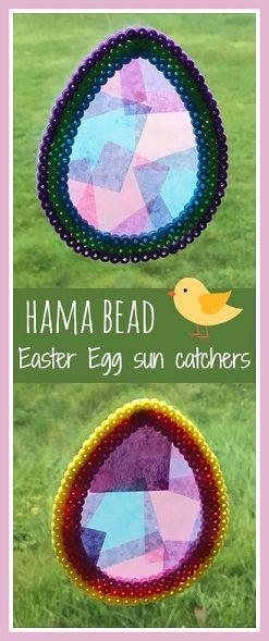 Hama bead Easter egg sun catchers tutorial