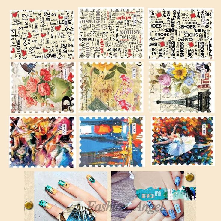 88Designs,Vintage Postage Stamp Water Transfer Nail Sticker,33pcs Flower Butterfly Nail Decals,Nail Decorations Tips Accessories $7.50