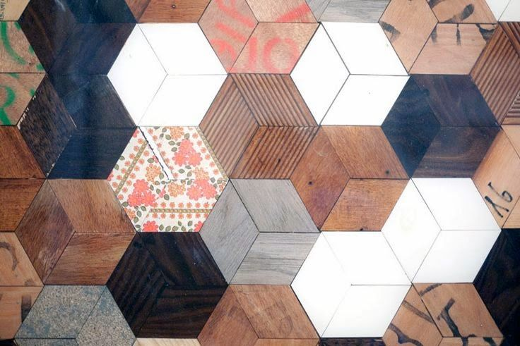 original floor with eclectic hexagon pattern: