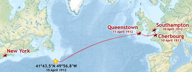 TITANIC | The route of Titanic's maiden voyage, with the coordinates of her sinking
