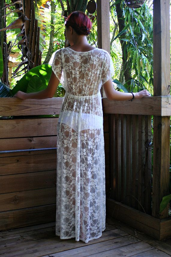 Sheer Lace Bridal Nightgown Lingerie Wedding by SarafinaDreams