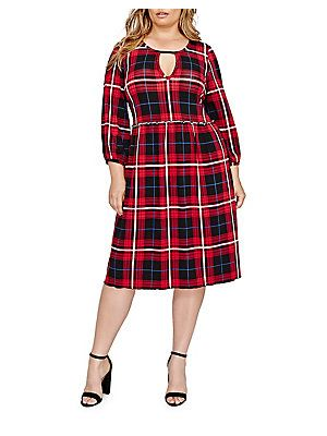 Addition Elle Love And Legend Fit-And-Flare Plaid Dress