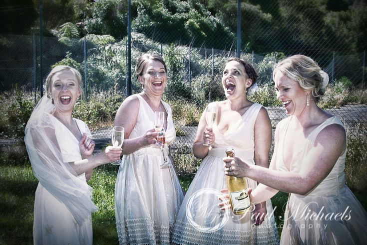 Celebrations, the girls drinking champagne after the wedding ceremony. PaulMichaels wedding photography Wellington http://www.paulmichaels.co.nz/
