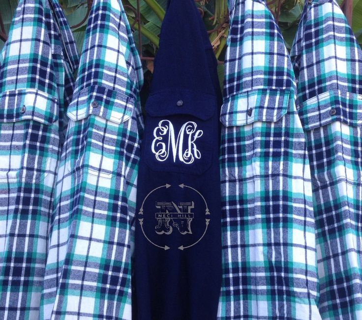 5 Flannel Shirts Monogram Bridesmaid Gift Bachelorette Party Robe Getting Ready BLUE AND GREEN Plaid Bridal Shower Girls Night Out by VintagebyNeci on Etsy https://www.etsy.com/listing/492913195/5-flannel-shirts-monogram-bridesmaid