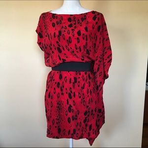 I just added this to my closet on Poshmark: Bebe Asymmetrical Silk Red Tunic Dress Size Small. Price: $68 Size: S