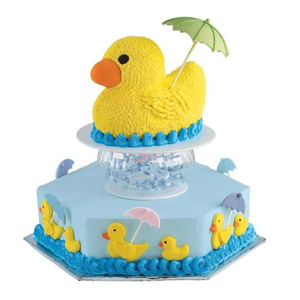 Amazing Wilton Baby Shower Cakes Part - 6: Duck Under Cover Cake - This Duck Loves Fowl Weather And Heu0027ll Brighten Any Baby  Shower! The Duck Under Cover Cake Features A Rubber Ducky Cake Holding A ...