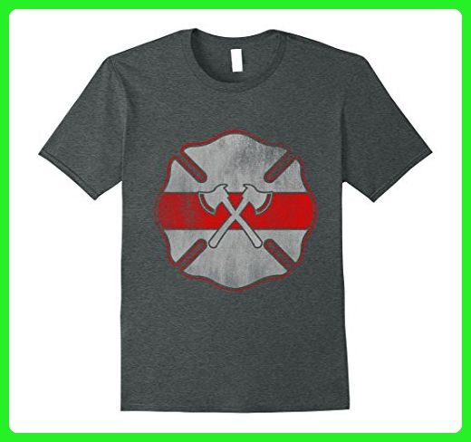 Mens Firefighter Badge Logo T-shirt Large Dark Heather - Careers professions shirts (*Amazon Partner-Link)