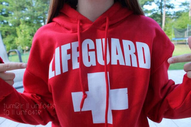 """""""I'm a lifeguard,"""" she gestured to her shirt. """"I get paid to not wear clothes and its amazing."""""""