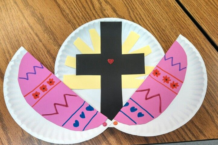 Pinspired by amysfreeideas.com- Religious Easter craft for preschool. Black cross for Jesus dying for us, yellow sun for his rising, heart sticker for his love for us, all 'inside' an Easter egg.