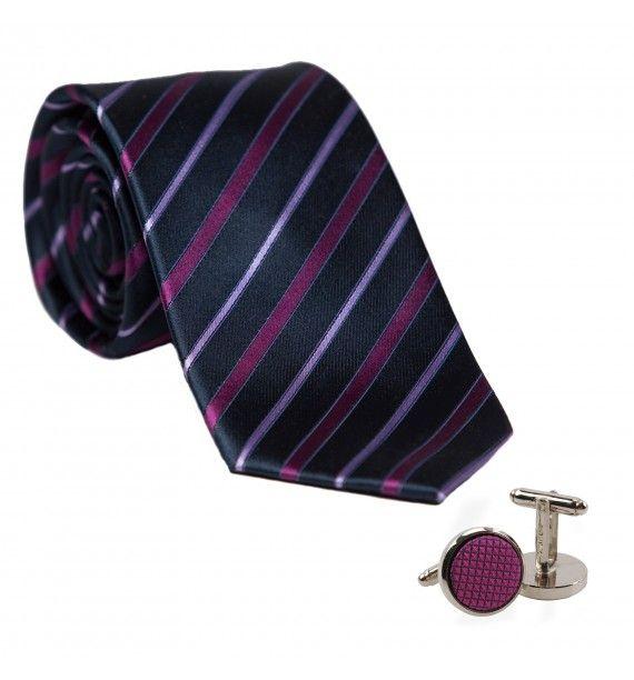 Cravata matase L. Biagiotti dungi subtiri magenta Executive si butoni