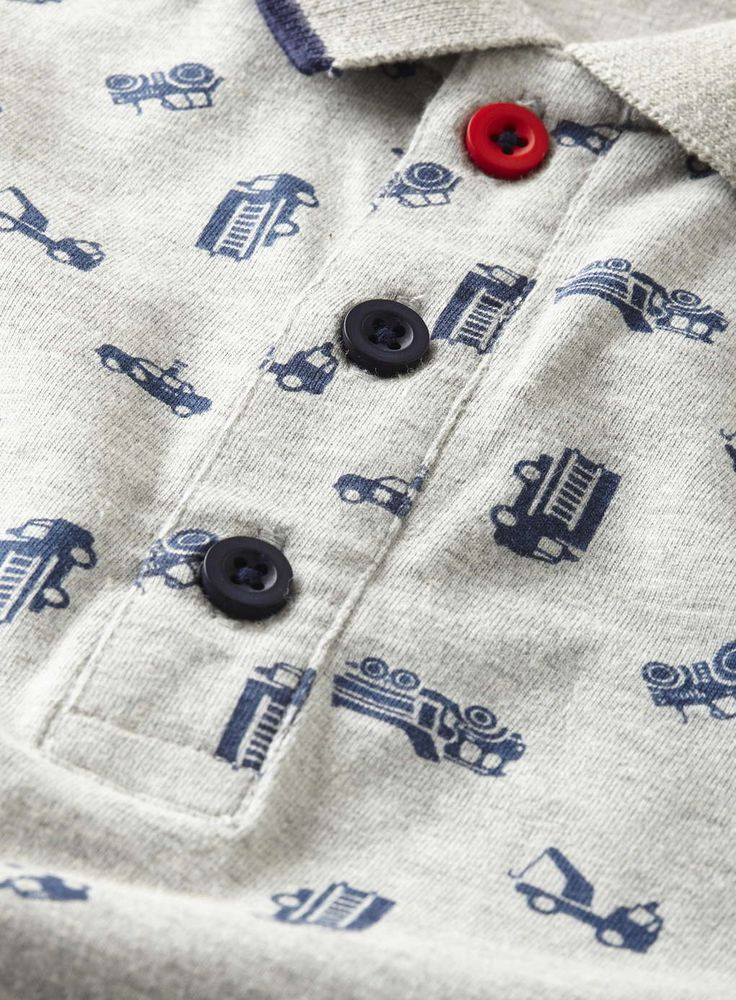 Boys Grey Print Transport Polo Shirt - View All Boys - Kids - BHS