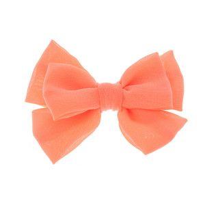 Coral Chiffon Hair Bow Clip   Claire's