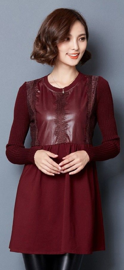 Mini a-line dress, pu dresses, dress with pu, knitted long sleeved dress, winter dresses, korean pu dress, lace and pu dress