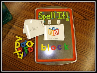 Boggle Jr. Tray!  Spell the word and flip over the card to check your spelling! Love it!