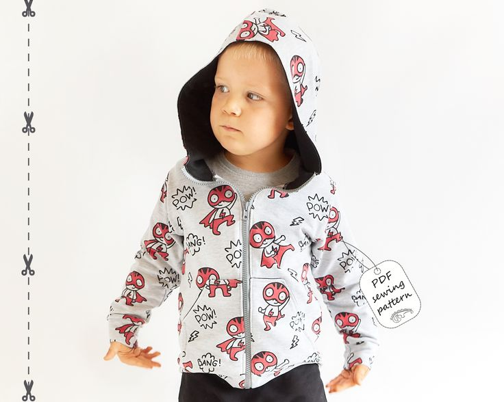 This is a hoodie with zipper sewing pattern with real color step-by-step instructions.