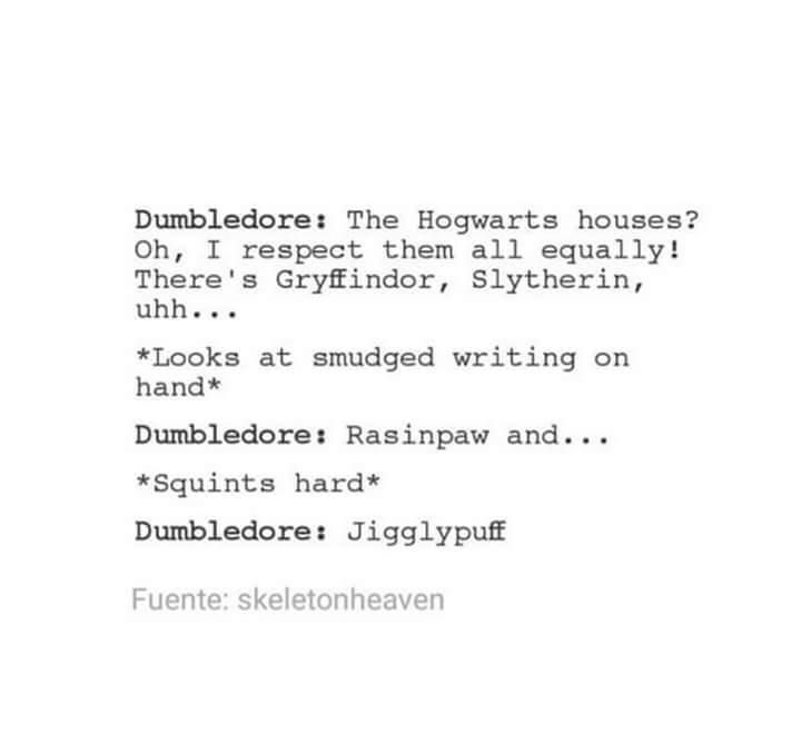 Another reason why I hate Dumbledore. He clears doesn't respect any of the other houses except Gryffindor. -_-