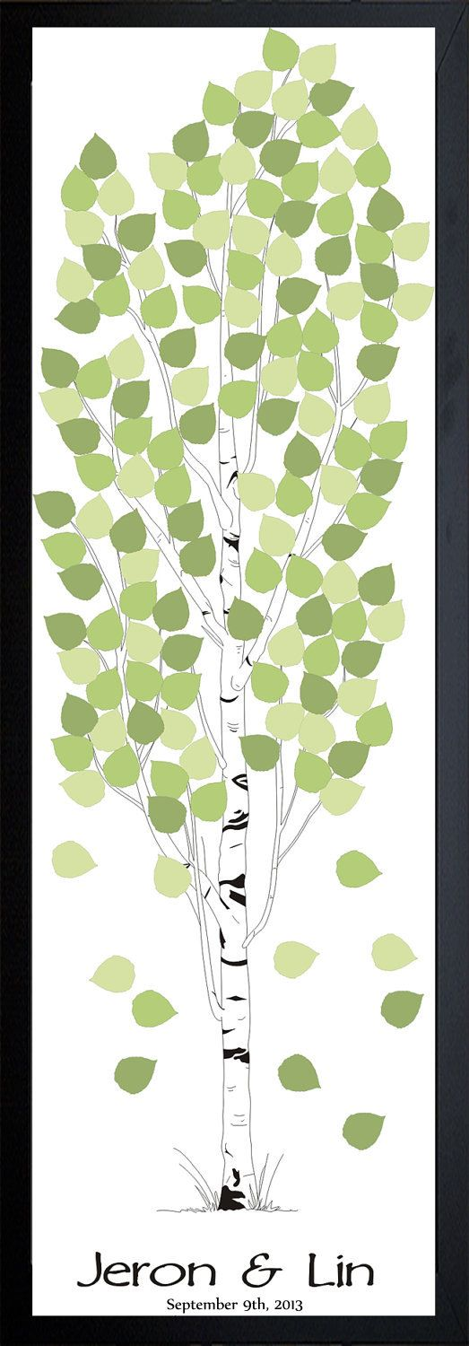 """Personalized Wedding Tree Guest Book  Aspen, size 12""""x36"""" for up to 150 guests"""