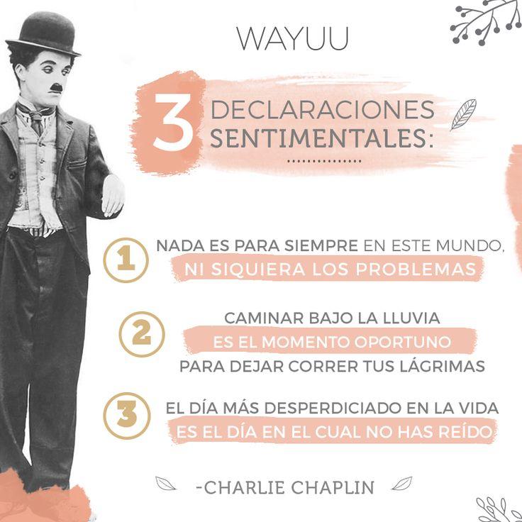 Sabias palabras de señor Charlie Chaplin. Ponlo en práctica y verás cómo cambia tu perspectiva hacia ciertas cosas de la vida.