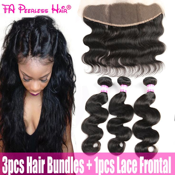 Indian Human Hair With Closure Body Wave Ear To Ear Lace Frontal With 3 Bundles Lace Front Closure With Bundles Annabelle Hair *** Offer can be found by clicking the image