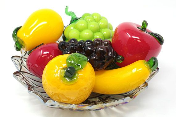 Vintage Handmade Glass Fruit With Carnival Glass Bowl Set Of 8 Handmade Glass Carnival Glass Carnival Glass Bowls