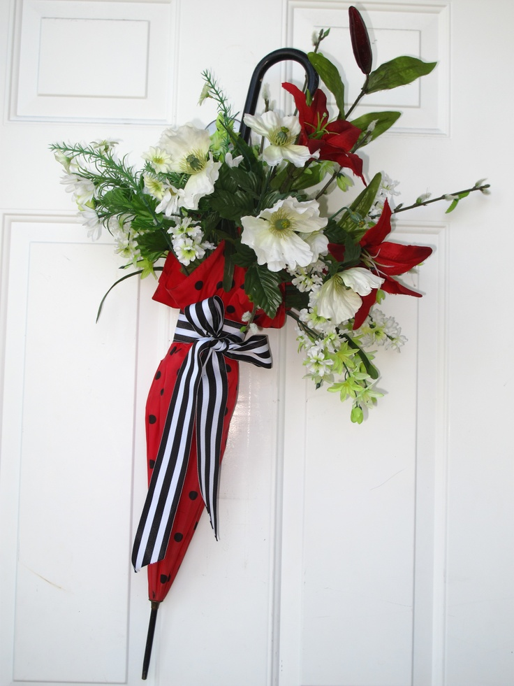 Door decor,  umbrella with flowers, wreath