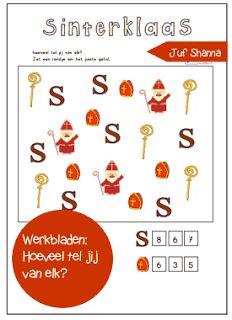 Thema Sinterklaas werkbladen: hoeveel tel je van elk? (kleuters)