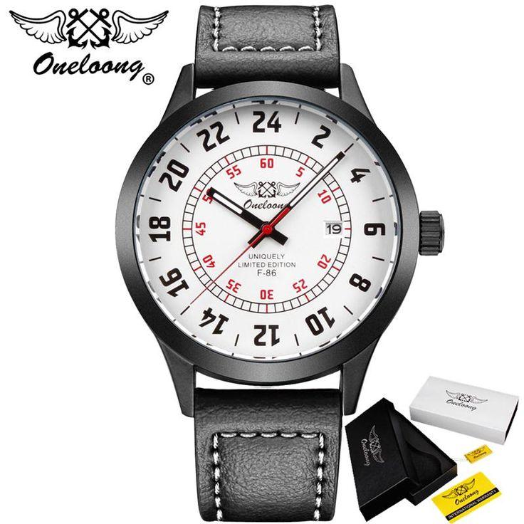 Fotina HK Merk ONELOONG Fashion Lederen Band Horloges Mannen Casual Quartz Horloge Kalender Datum Werk Voor Mannen Dress Sport Horloge in                          Fotina HK Merk ONELOONG Datum Quartz Horloge Mannen Casual Militaire Sport Horloges Lederen Pol van quartz horloges op AliExpress.com | Alibaba Groep