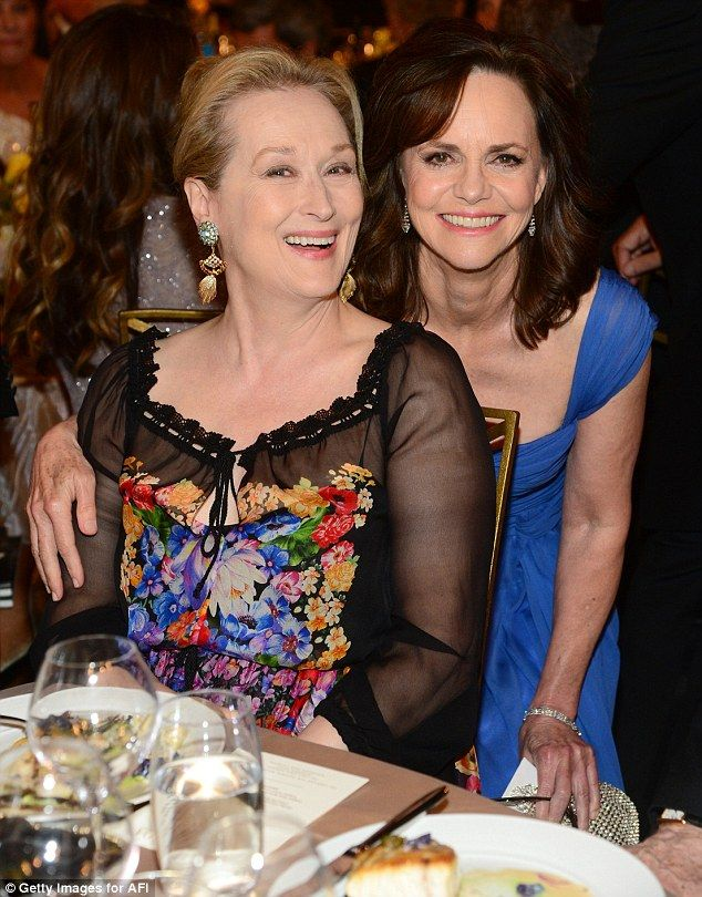 Leading ladies: Meryl Streep smiled for the cameras alongside Sally Field as they ate their dinner
