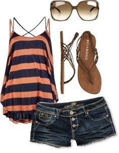 I found 'Cute Orange and Blue  Striped Tank Top  Shorts Outfit' on Wish, check it out!