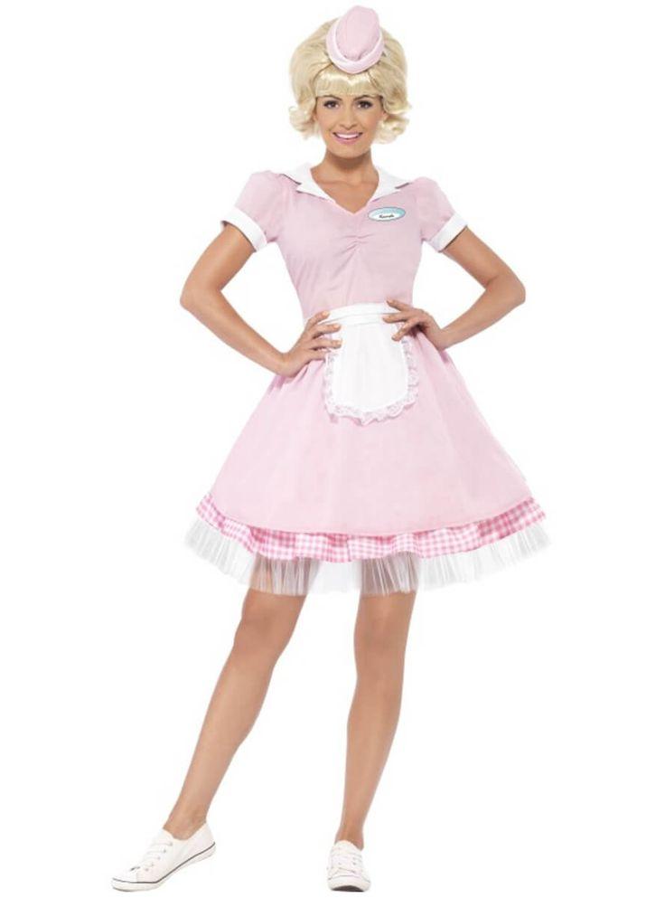 Disfraz de camarera retro de los años 50 para mujer