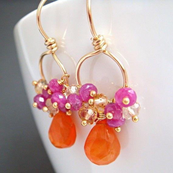 Gemstone Gold Earrings Tangerine Carnelian Pink by aubepine, $52.00