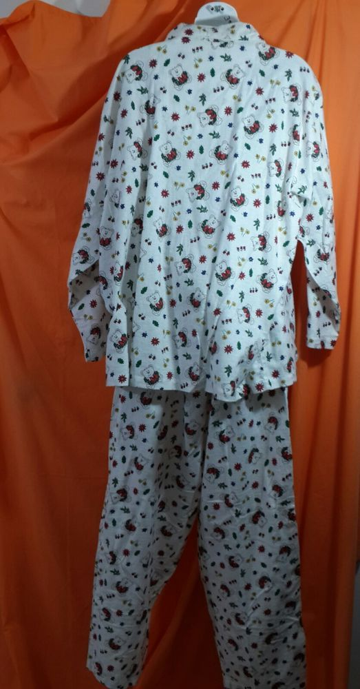 Flannel Christmas Pajamas Teddy Bears size 2x White Red Green Basic Editions   BasicEditions  PajamaSets 39a69d2ca