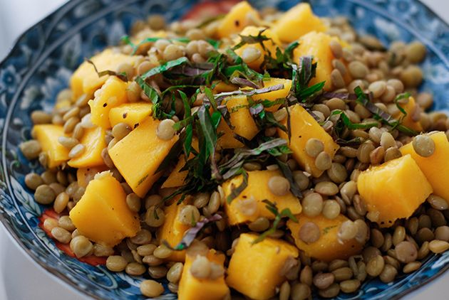 Cold Lentils with Mango, Mint, and Lime