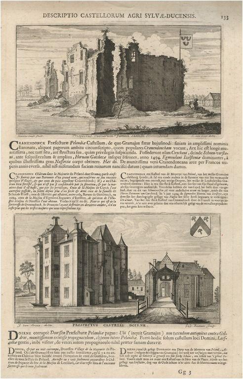 Twee prenten op een bladzijde. De ruïnes van het kasteel Cranendonck, en het kasteel van Deurne - 1700 - 1735