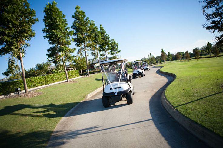 Golf carts - so much fun!! Wedding and reception held at www.twincreeksgolf.com.au. Photo by Saxon Cole Photography.