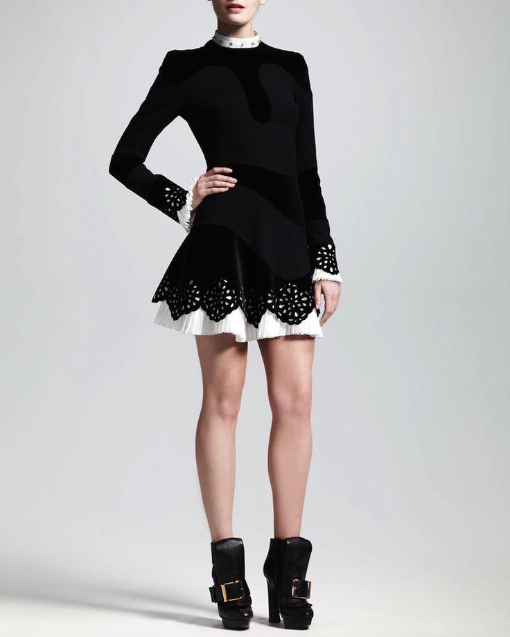 Pleated-Trim Cutout Crepe Dress