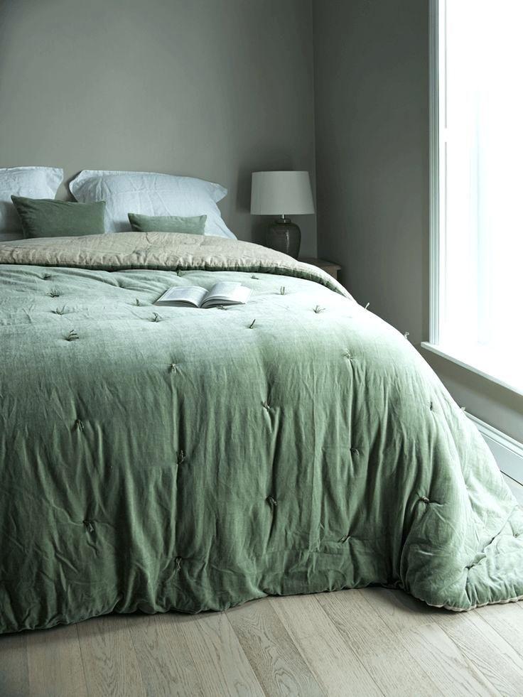 Velvet Bedspread Trend Green, Moss Green Velvet Bedding