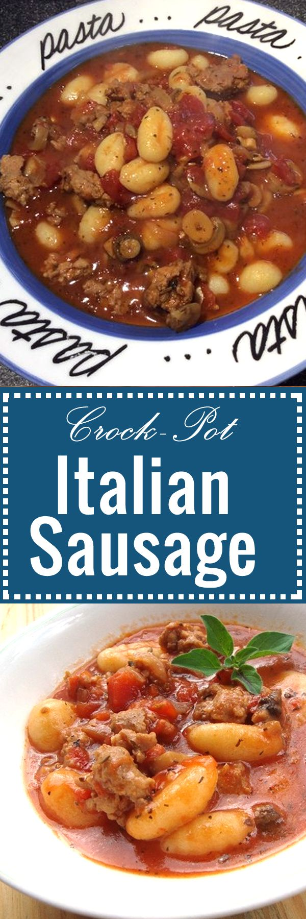 Italian Sausage Casserole - Crock-Pot recipe with ingredients like gnocchi, tomatoes, onions, select spices and of course sausages. So YUMMY! | recipezazz.com