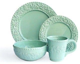 Bianca Leaf Jade 16 Piece Dinnerware Set - traditional - dinnerware - by Jay Import