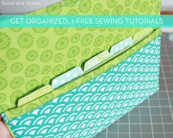 7 easy and free Organizational sewing tutorials! I love the handmade fabric coupon organizer, and clear zippered pouches!