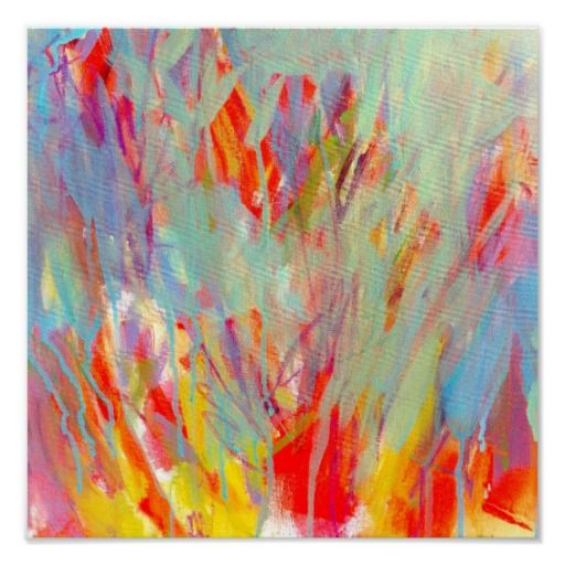 Square Abstract Print Colorful Expressionist Art Poster - Electric Youth 2 by Jessica Torrant