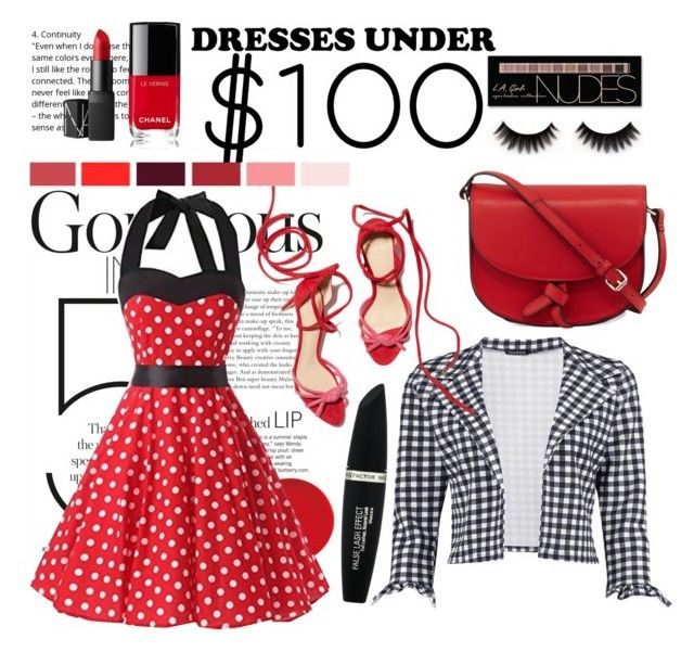 """""""Dress for less"""" by couturerouge ❤ liked on Polyvore featuring Boohoo, KC Jagger, Chanel, Max Factor, NARS Cosmetics and Charlotte Russe"""